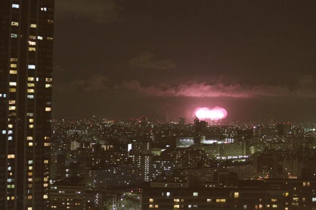豊洲から見える江戸川花火