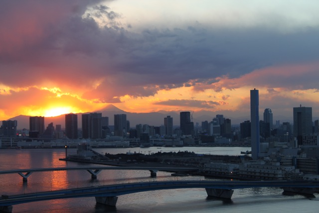 豊洲から見た富士山の黄昏